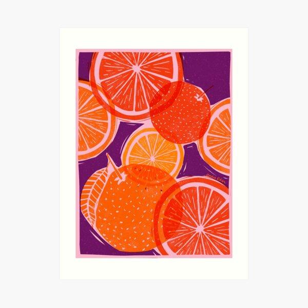 Citrus Woodblock Art Print