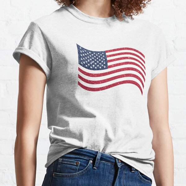 USA American Glitter n Sparkles Flag Fourth of July Independence Day Print Classic T-Shirt