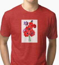A Posy Of Wild Red And Lilac Anemone Coronaria Tri-blend T-Shirt