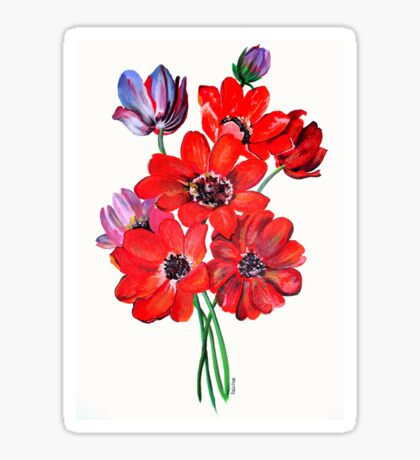 A Posy Of Wild Red And Lilac Anemone Coronaria Sticker
