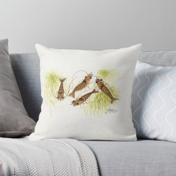 """""""Shrimp"""" by Amber Marine ~ watercolor painting, © 2013 Throw Pillow"""