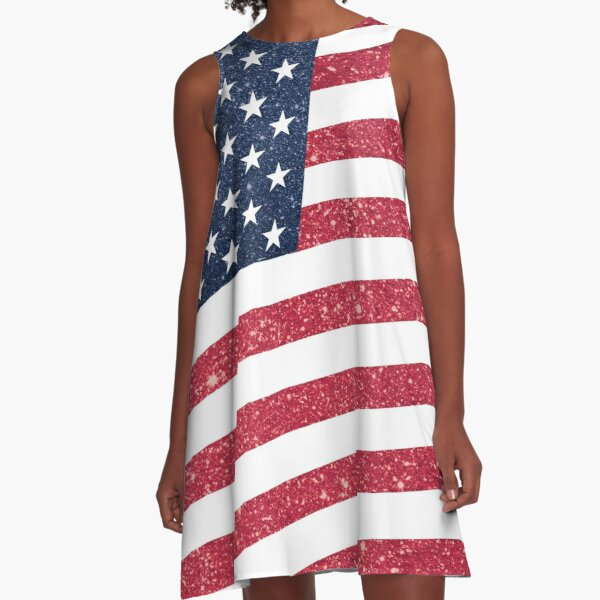 USA American Glitter n Sparkles Flag Fourth of July Independence Day Print A-Line Dress