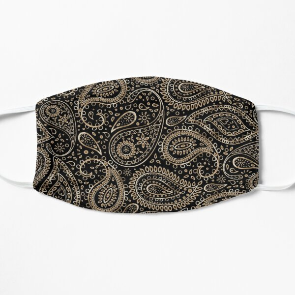 Pretty Gold Bohemian Art Paisley Gradient Beige and Brown Design. Flat Mask