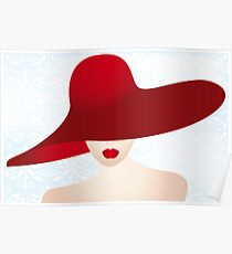 Portrait of the lady with the red hat Poster