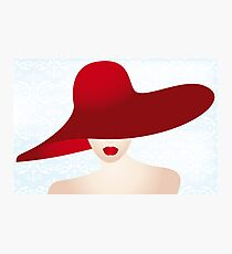 Portrait of the lady with the red hat Photographic Print