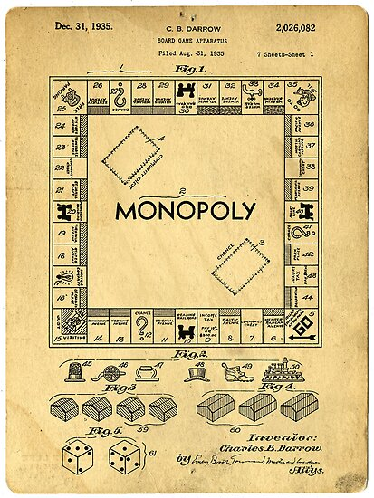 Quot Original Patent For Monopoly Board Game 1936 Quot Posters By