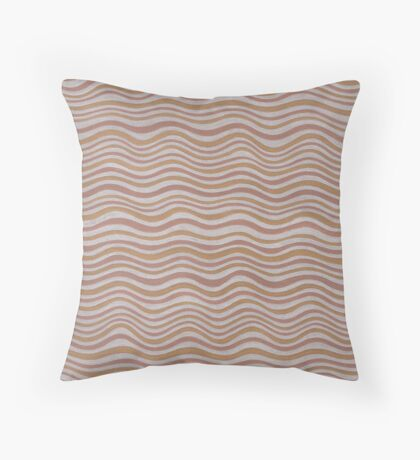 Metallic Colors Hand Drawn Wavy Stripes Silver Gold Copper Throw Pillow