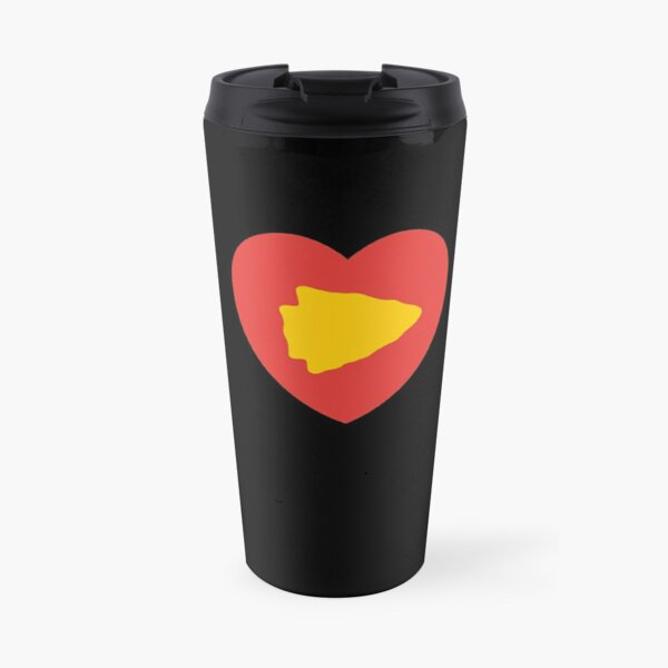KC Face mask Kansas City facemask KC Kansas City Heart Red Yellow Kc Kingdom KC Hearts Love Letters Football Sports Fan 2020 Valentine Travel Mug