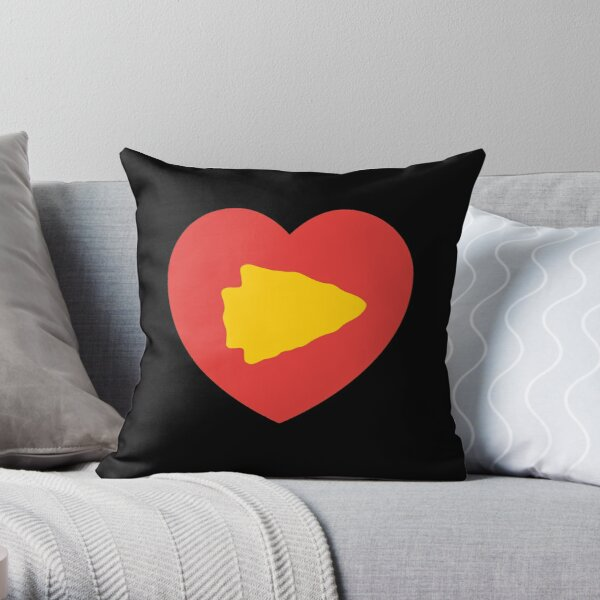 KC Face mask Kansas City facemask KC Kansas City Heart Red Yellow Kc Kingdom KC Hearts Love Letters Football Sports Fan 2020 Valentine Throw Pillow