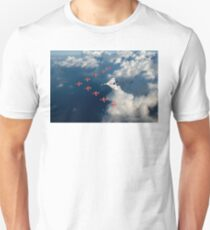 Red Arrows and Avro Vulcan above clouds Unisex T-Shirt