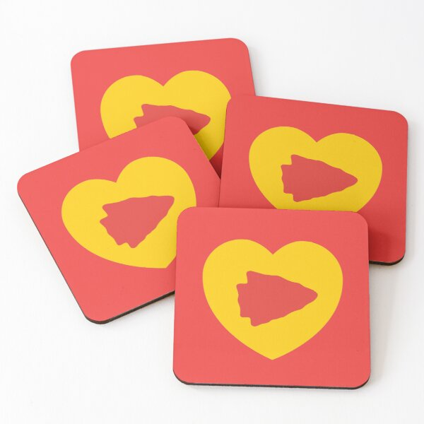 KC Face mask Kansas City facemask KC Kansas City Heart Red Yellow KC Kingdom Kc Hearts Love Letter Football Sports Fan 2020 Valentine Coasters (Set of 4)