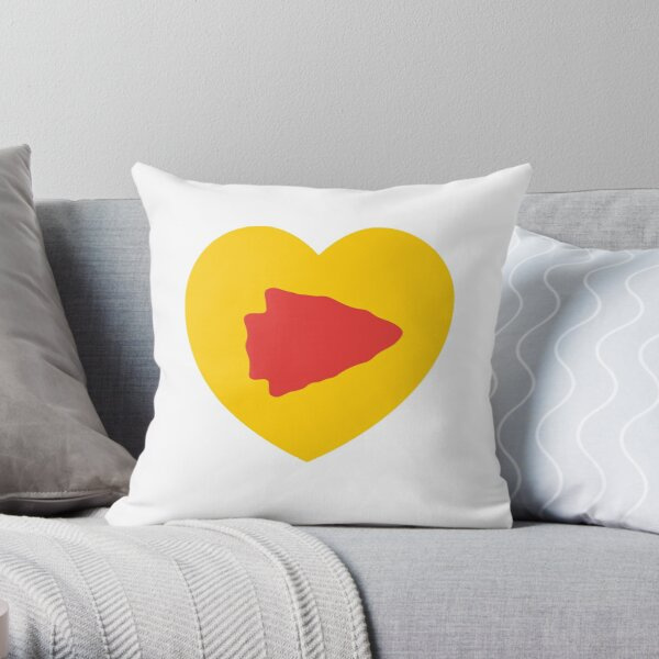 KC Face mask Kansas City facemask KC Kansas City Heart Red Yellow KC Kingdom Kc Hearts Love Letter Football Sports Fan 2020 Valentine Throw Pillow