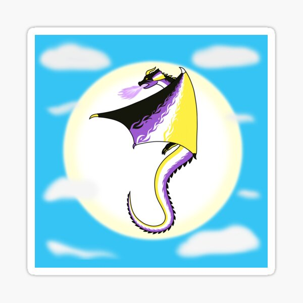 Fly With Pride, Dragon Series - Nonbinary Sticker