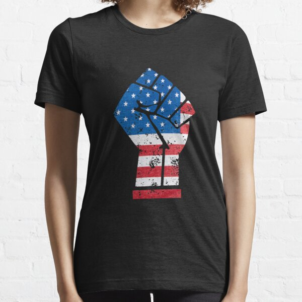 4th of July Black power fist black lives matter distressed american flag Essential T-Shirt