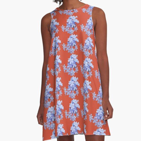 Plumbago-Bündel A-Linien Kleid