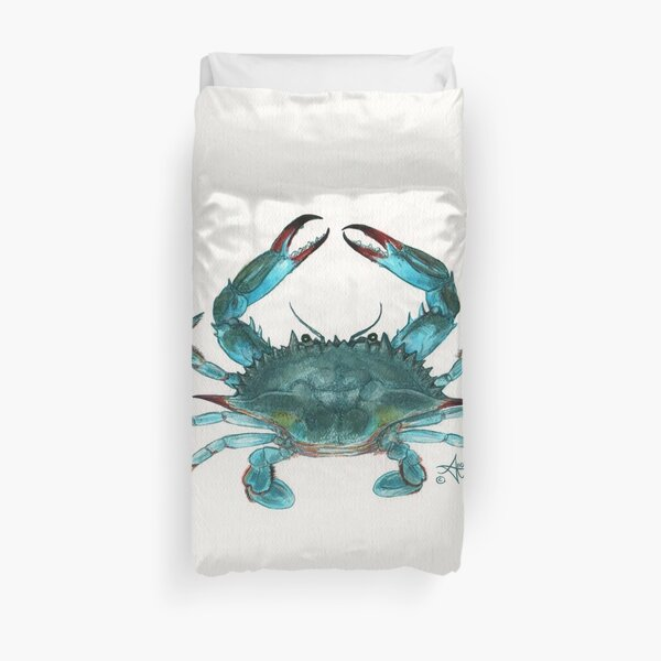 """""""Blue Crab"""" by Amber Marine, watercolor painting, © 2013 Duvet Cover"""