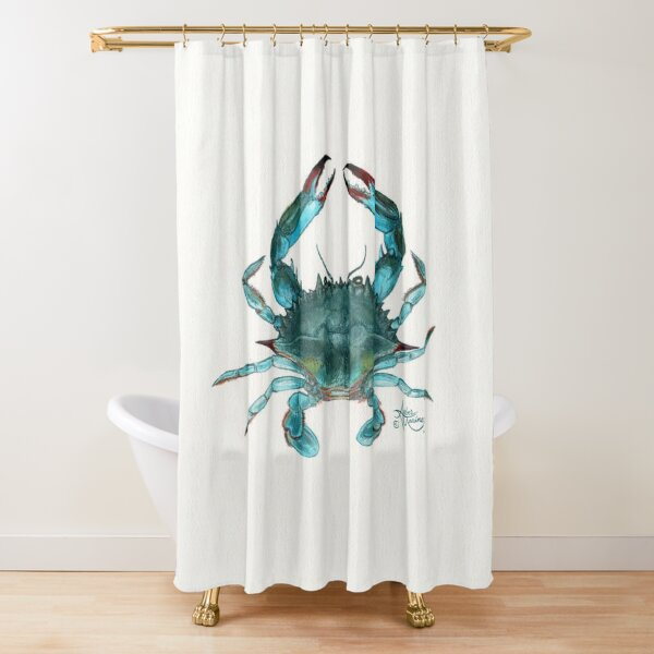 """Blue Crab"" by Amber Marine, watercolor painting, © 2013 Shower Curtain"