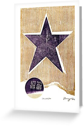 the first star purple rustic star with golden stripes and binary by Veera Pfaffli