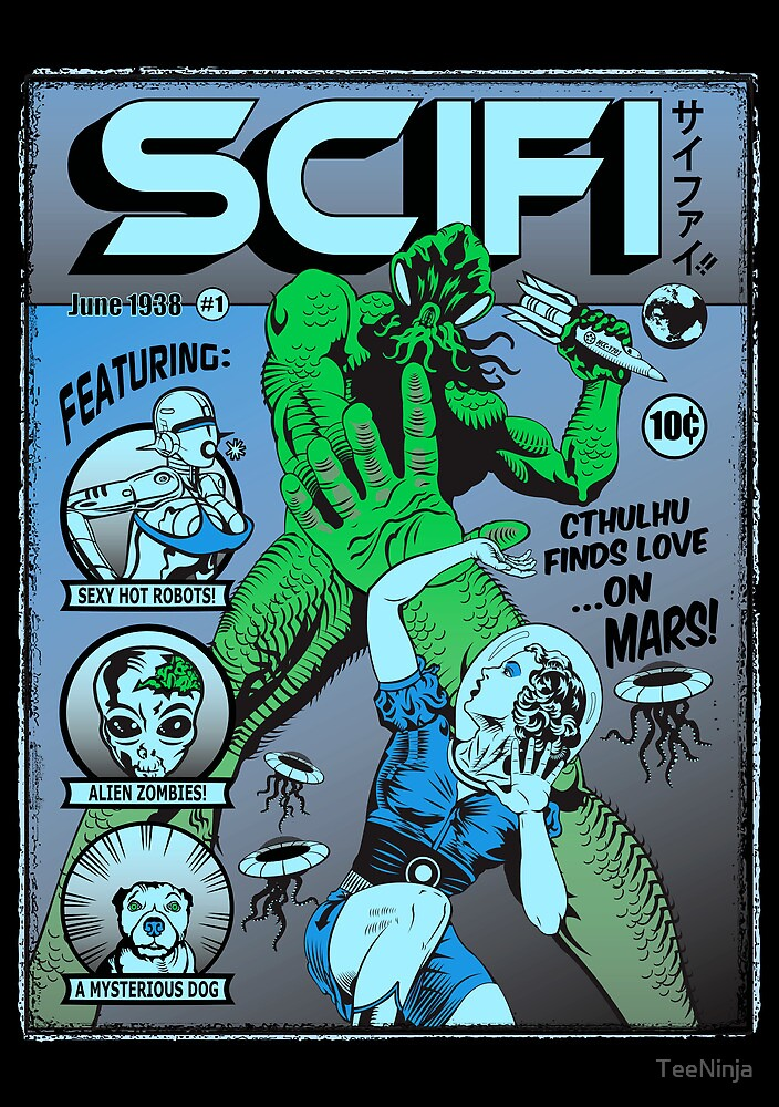 Cthulhu on the cover of SCIFI by TeeNinja