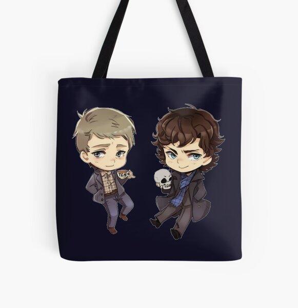 Chibi Sherlock and John All Over Print Tote Bag