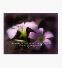Easter Scripture Greeting Card - Pink Oxalis Photographic Print