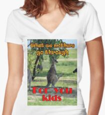 What we mothers go through Women's Fitted V-Neck T-Shirt