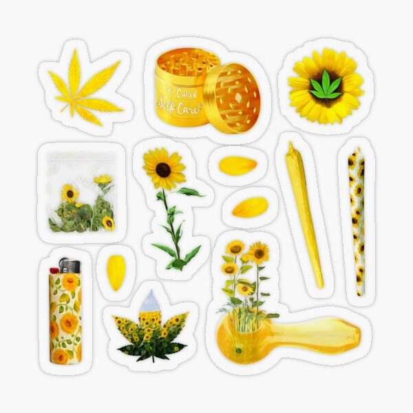 Yellow Sunflower Summer ~ Aesthetic Hippie Pot Head Vibes ~ Stoner Weed and Essentials Semi Transparent Sticker Bundle Pack ~ Collection Set 10 Transparent Sticker