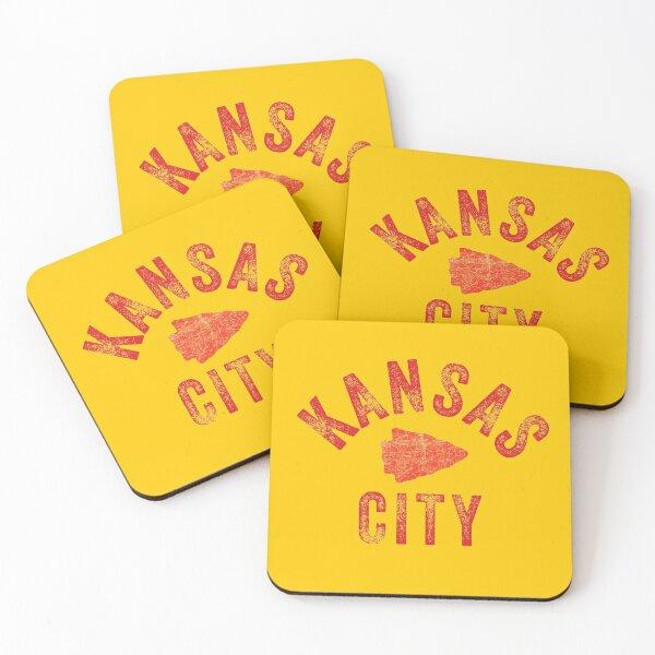 KC Face mask Kansas City facemask Classic Kansas City Football KC Yellow & Red Kingdom Football Kc Gear Coasters (Set of 4)