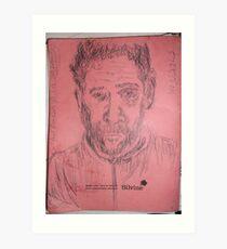 Self-portrait -(130313)- black biro pen/A4 sketchpad Art Print