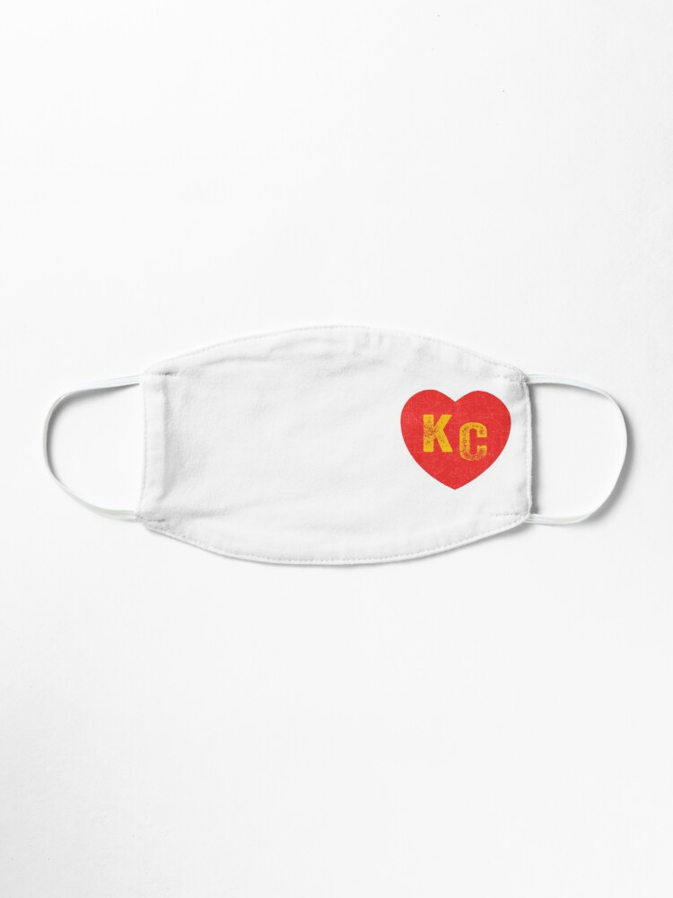 Alternate view of KC Heart Kansas City Hearts I love Kc heart monogram KC Face mask Kansas City facemask Mask