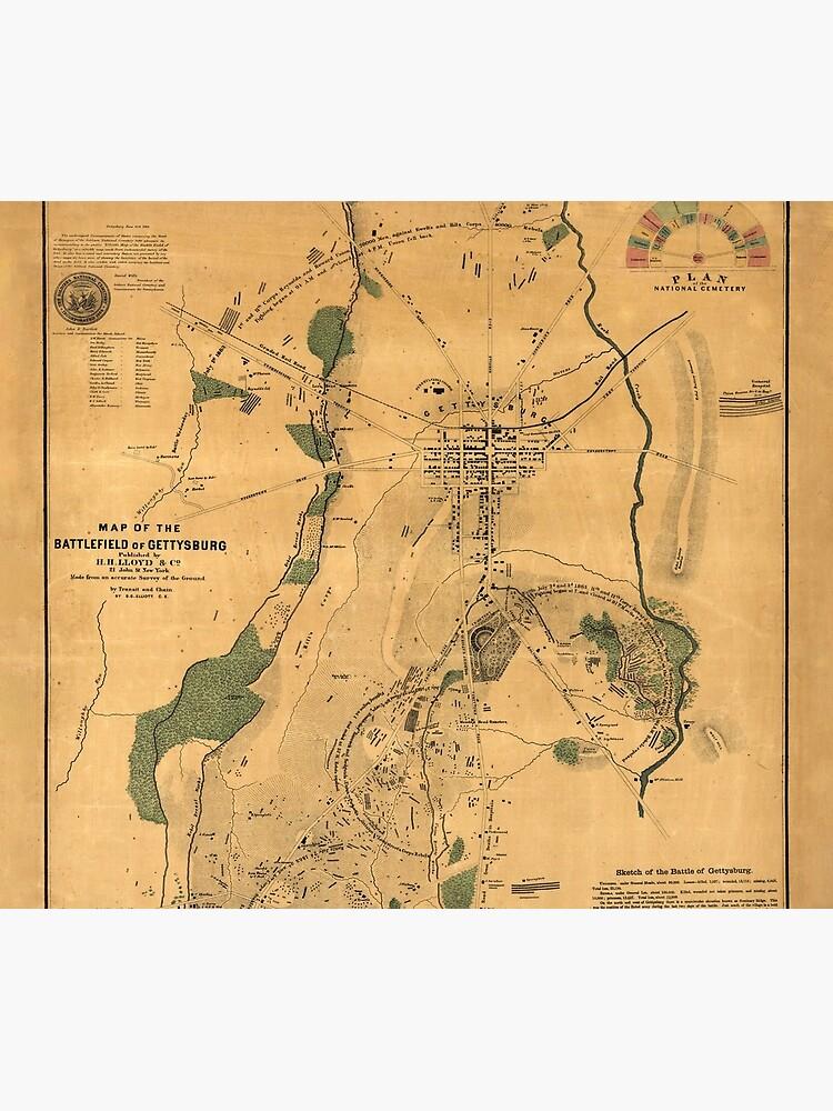 Vintage Battle of Gettysburg Map (1864) by BravuraMedia