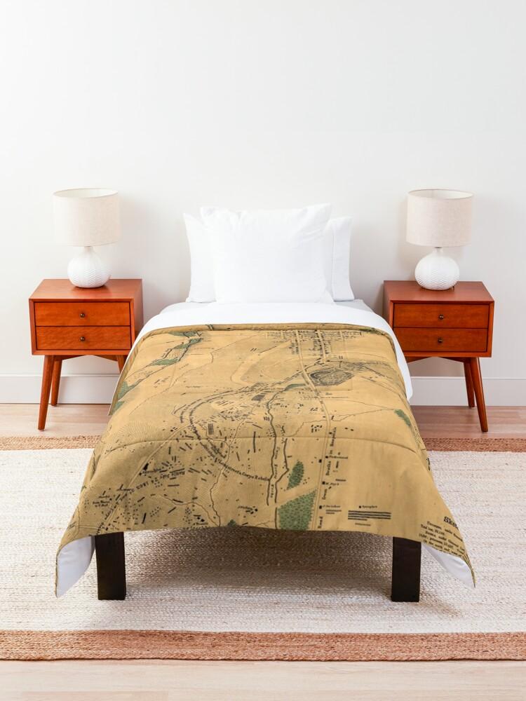 Alternate view of Vintage Battle of Gettysburg Map (1864) Comforter