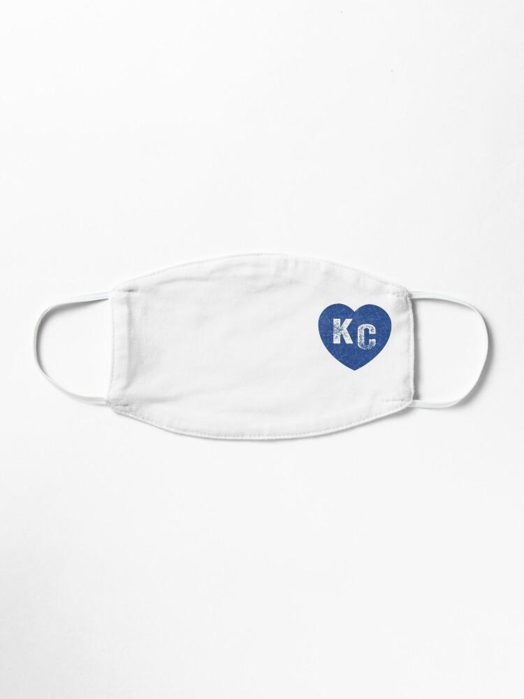 Alternate view of Royal Blue KC Blue Heart Kansas City Hearts I Love Kc heart Kansas city KC Face mask Kansas City facemask Mask