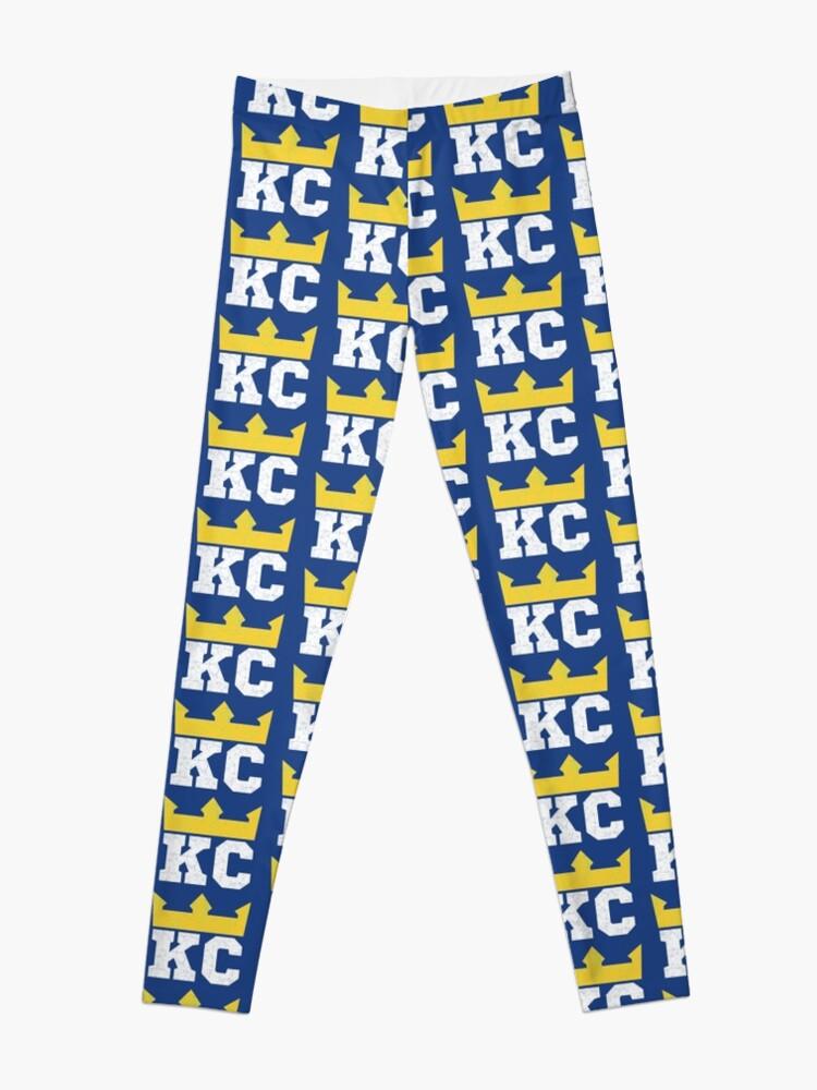 Alternate view of Kansas City Royal Blue KC Crown Town KC Baseball Fan Gear Kansas Citian KC Face mask Kansas City facemask Leggings