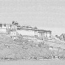 Pencil Sketch of Amer Fort by Amit  Gairola