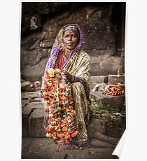 Woman Selling Garlands Poster