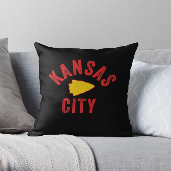 KC Football Tribal Gear Arrowhead Kansas City Vintage Kc Fan Local Pro Gear KC Face mask Kansas City facemask Throw Pillow