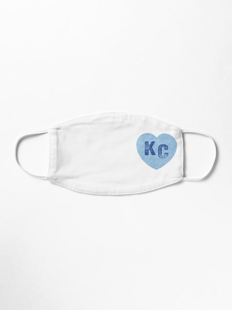 Alternate view of Baby Blue KC Heart Kansas City Hearts I Love Kc heart Kansas city KC Face mask Kansas City facemask Mask