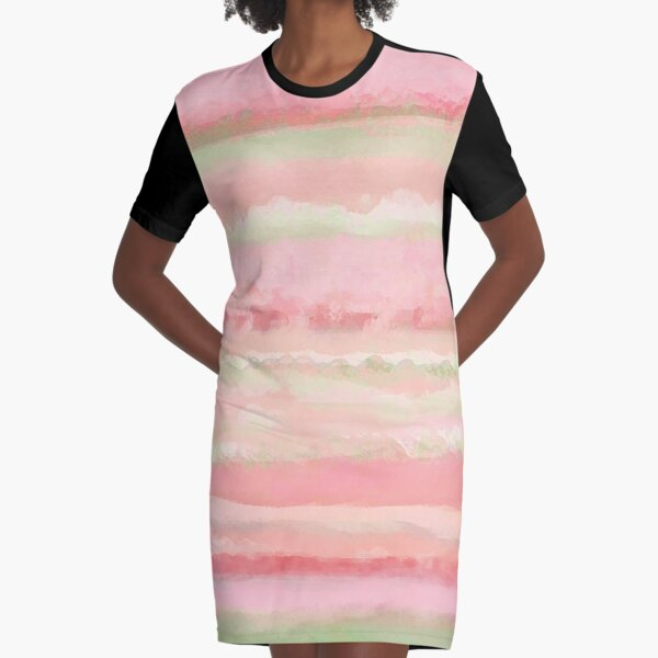 In a Watermelon Mood | Pastel Watercolor Strips Graphic T-Shirt Dress