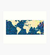 maps pointilism World Map 2 Art Print