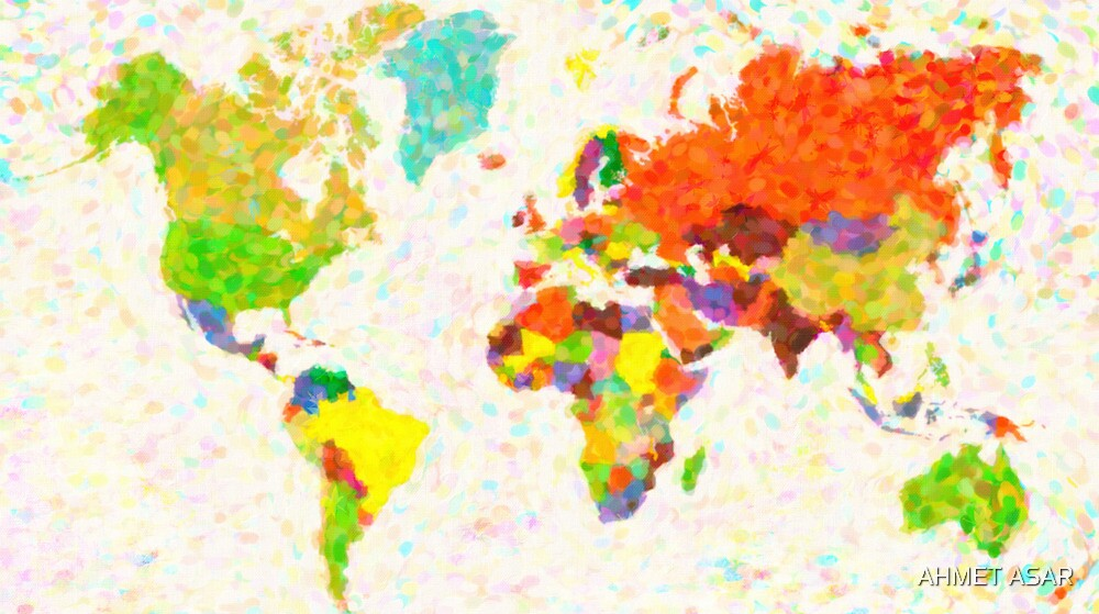 maps pointilism World Map with leaves by MotionAge Media