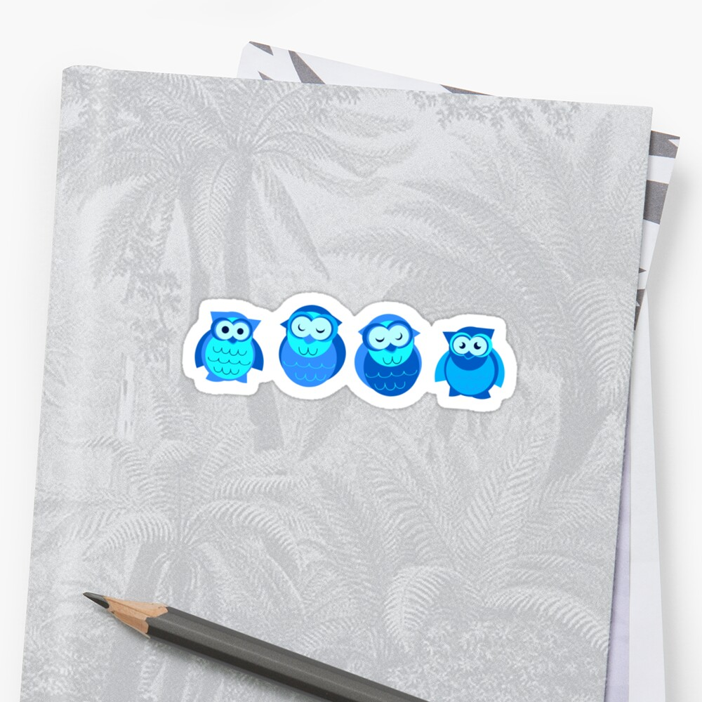Four Blue Owls by eppiepeppercorn