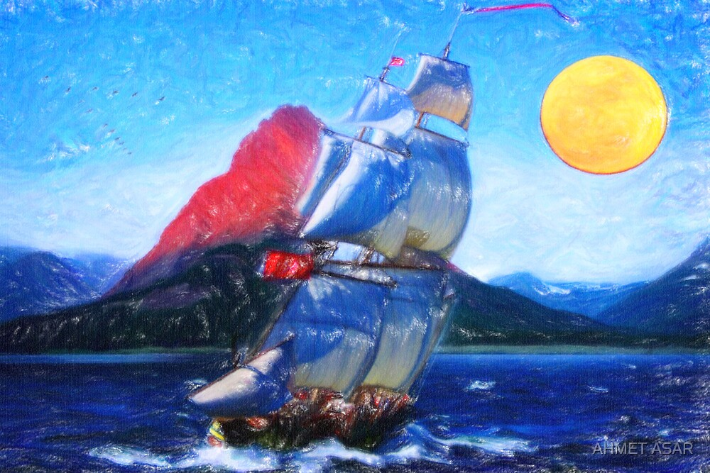 sailing towards high peaks crayon by MotionAge Media