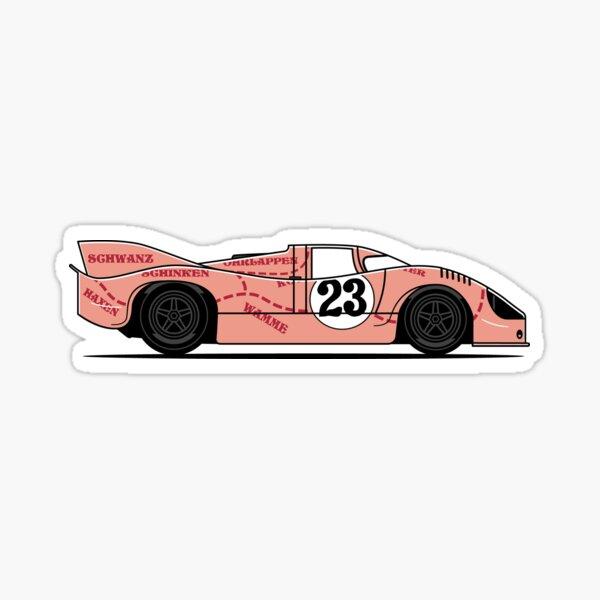917 Pink Pig Race Car Sticker