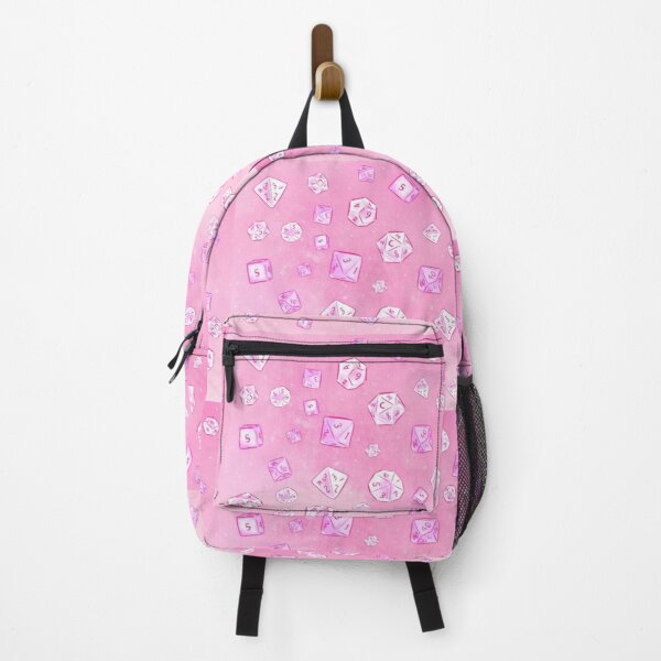 Pastel Pink Aesthetic Dice Pattern Backpack