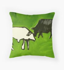 bovines face off Throw Pillow