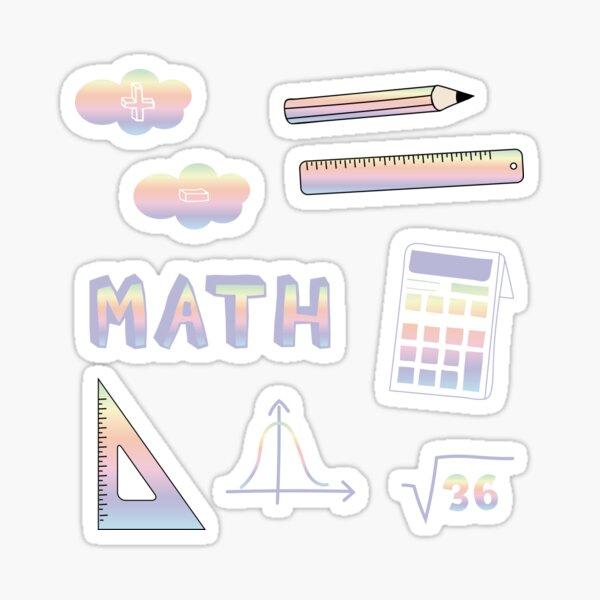 Pastel Rainbow Math School Subject Sticker Pack Sticker