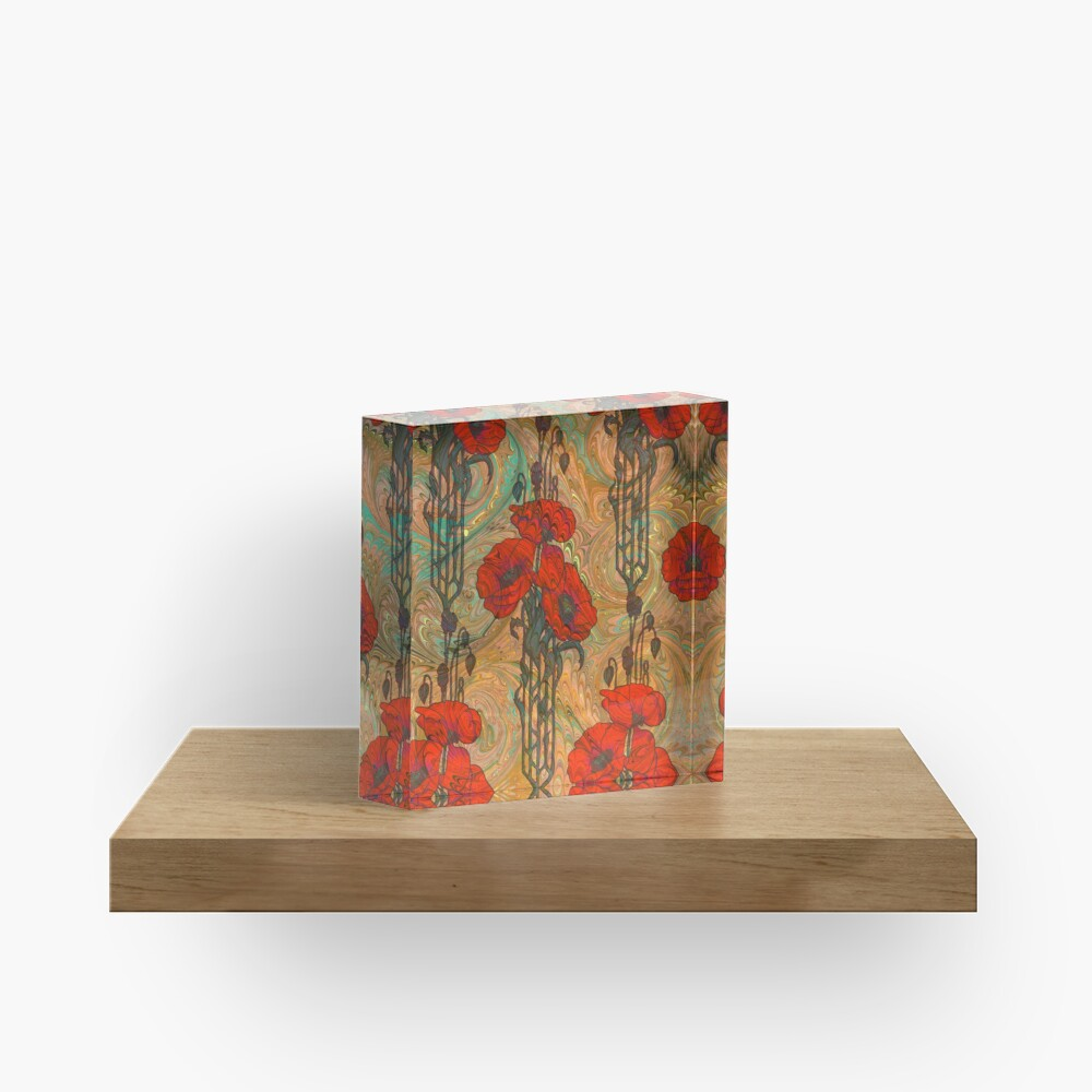Art Nouveau Poppy Dream IV, Red, Peach, Green and Gold Acrylic Block