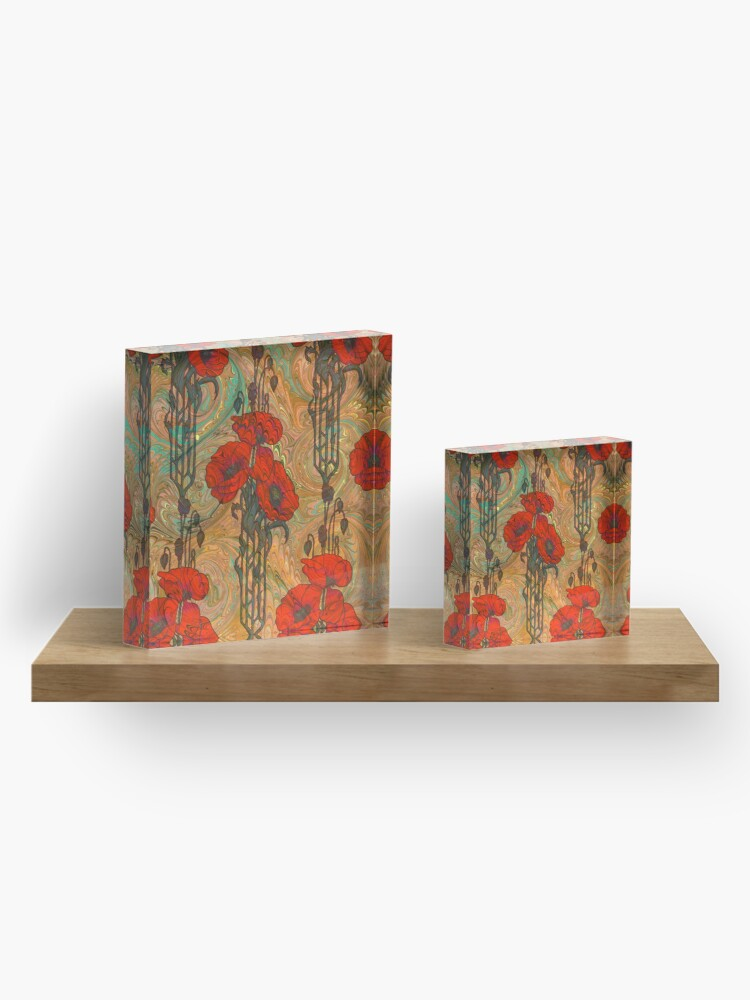 Alternate view of Art Nouveau Poppy Dream IV, Red, Peach, Green and Gold Acrylic Block