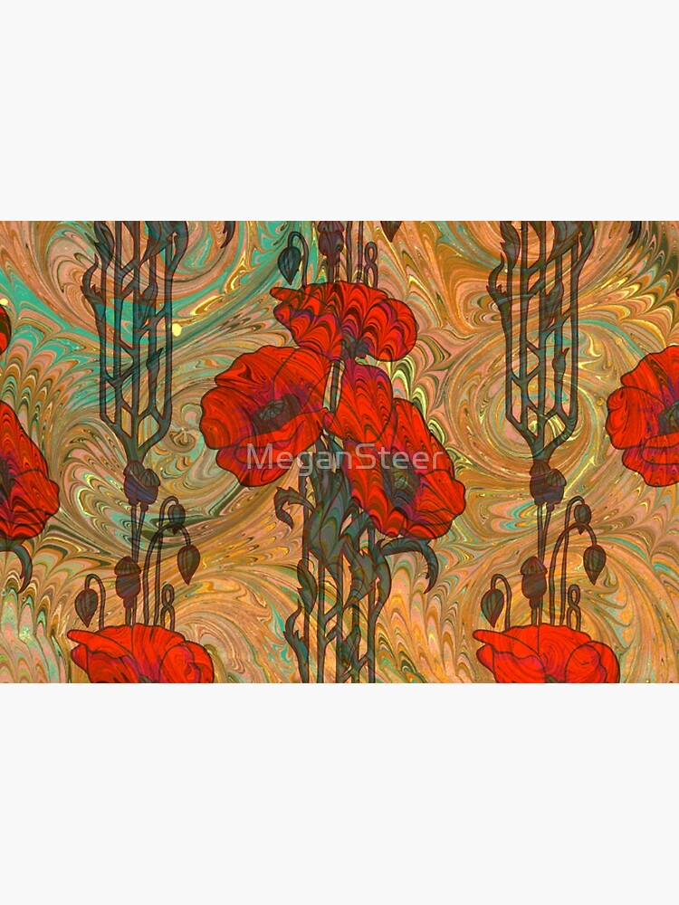 Art Nouveau Poppy Dream IV, Red, Peach, Green and Gold by MeganSteer